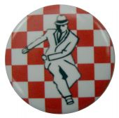 SKA - 'Rude Boy Red Check' Button Badge